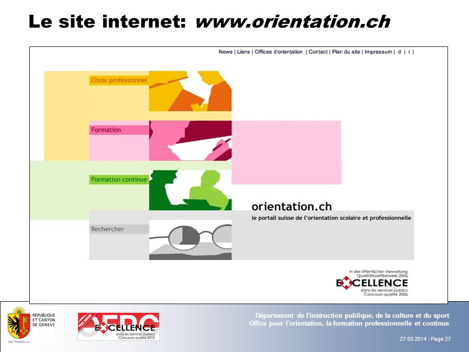 Le site internet: www.orientation.ch