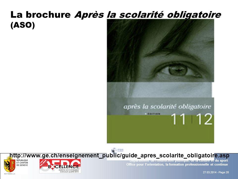 La brochure Après la scolarité obligatoire (ASO)