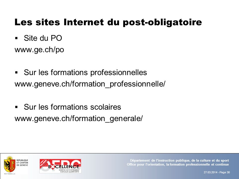 Les sites Internet du post-obligatoire