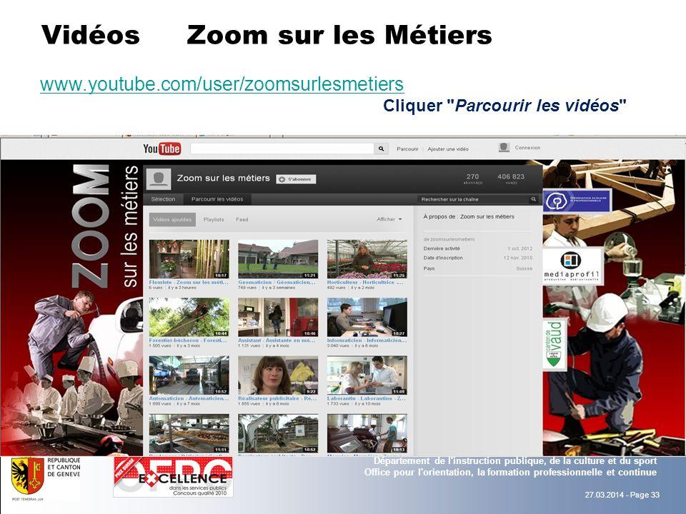 Vidéos Zoom sur les Métiers