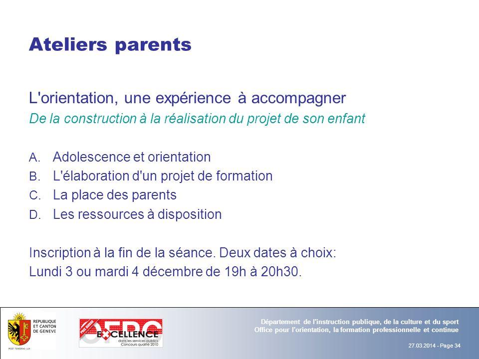 Ateliers parents L orientation, une expérience à accompagner