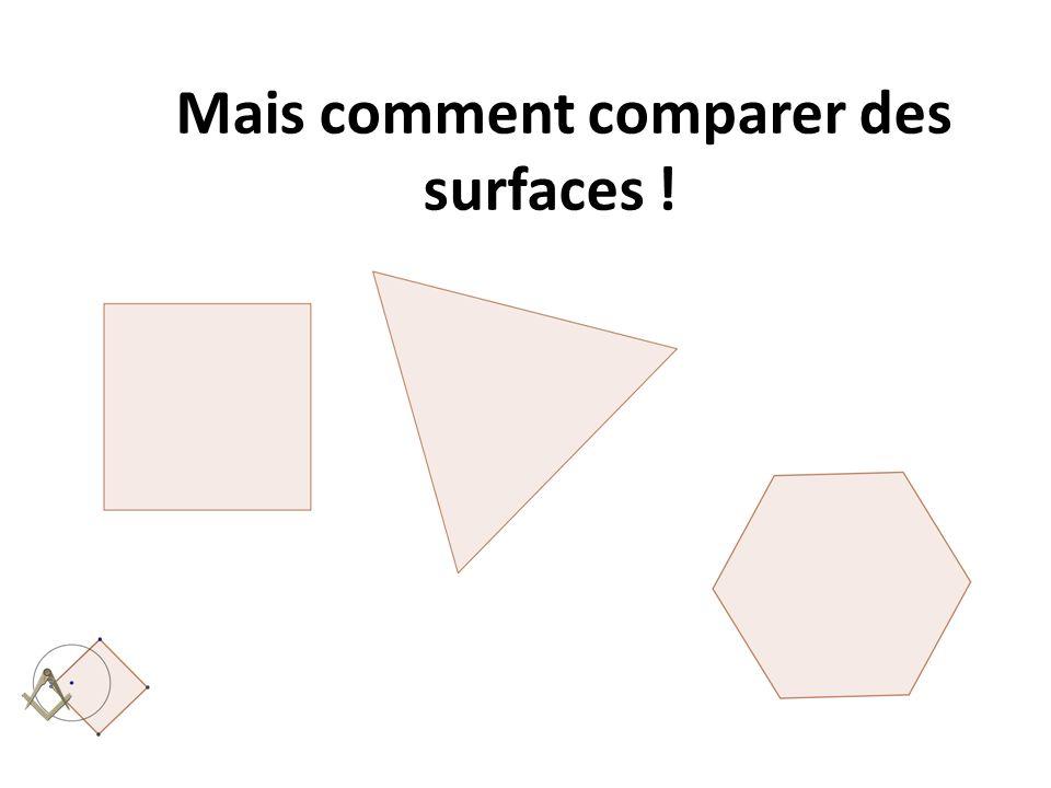 Mais comment comparer des surfaces !
