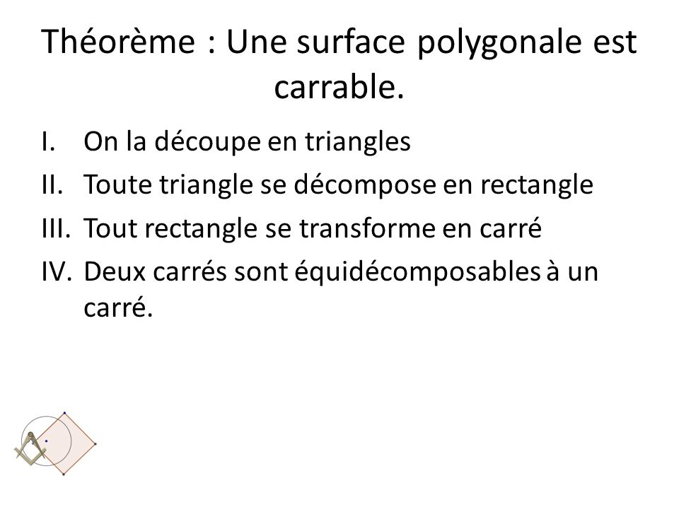 Théorème : Une surface polygonale est carrable.