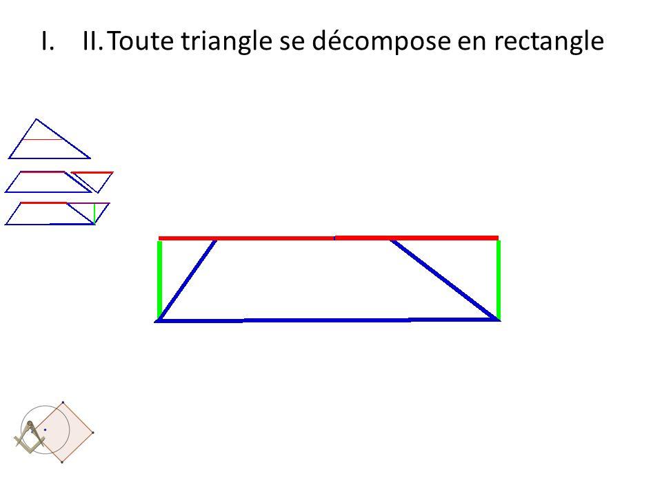 II. Toute triangle se décompose en rectangle