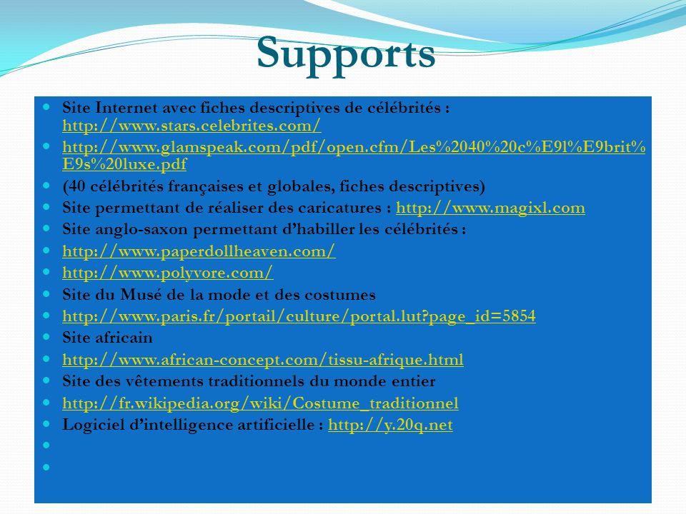 Supports Site Internet avec fiches descriptives de célébrités : http://www.stars.celebrites.com/
