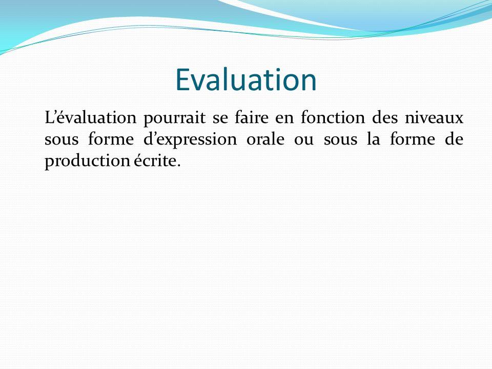 Evaluation L'évaluation pourrait se faire en fonction des niveaux sous forme d'expression orale ou sous la forme de production écrite.