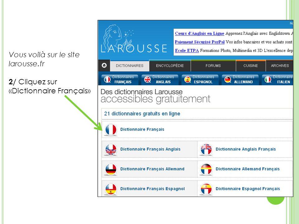 Vous voilà sur le site larousse.fr