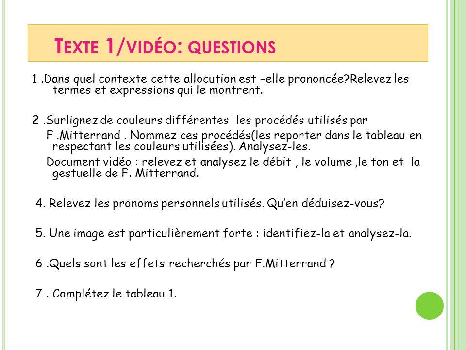Texte 1/vidéo: questions