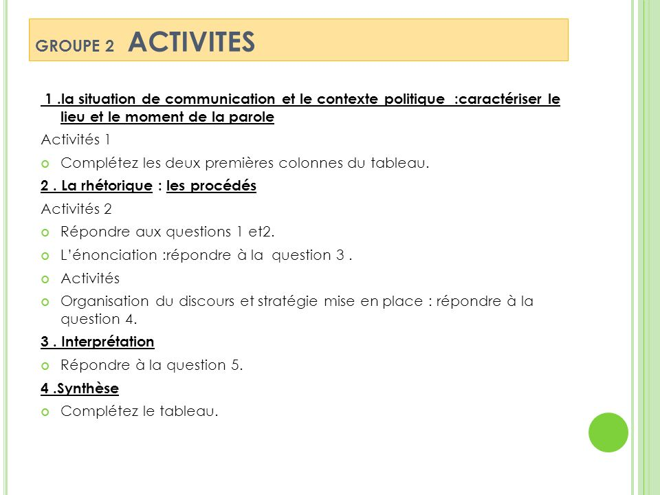 GROUPE 2 ACTIVITES 1 .la situation de communication et le contexte politique :caractériser le lieu et le moment de la parole.