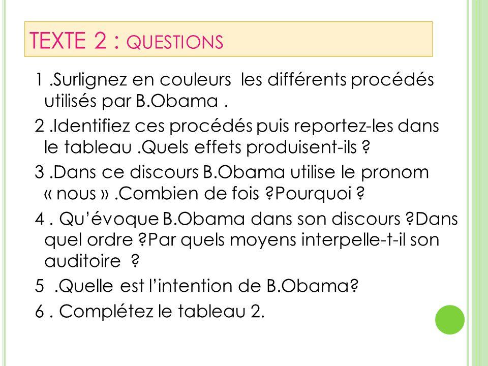 TEXTE 2 : questions 1 .Surlignez en couleurs les différents procédés utilisés par B.Obama .