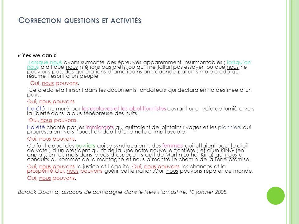 Correction questions et activités
