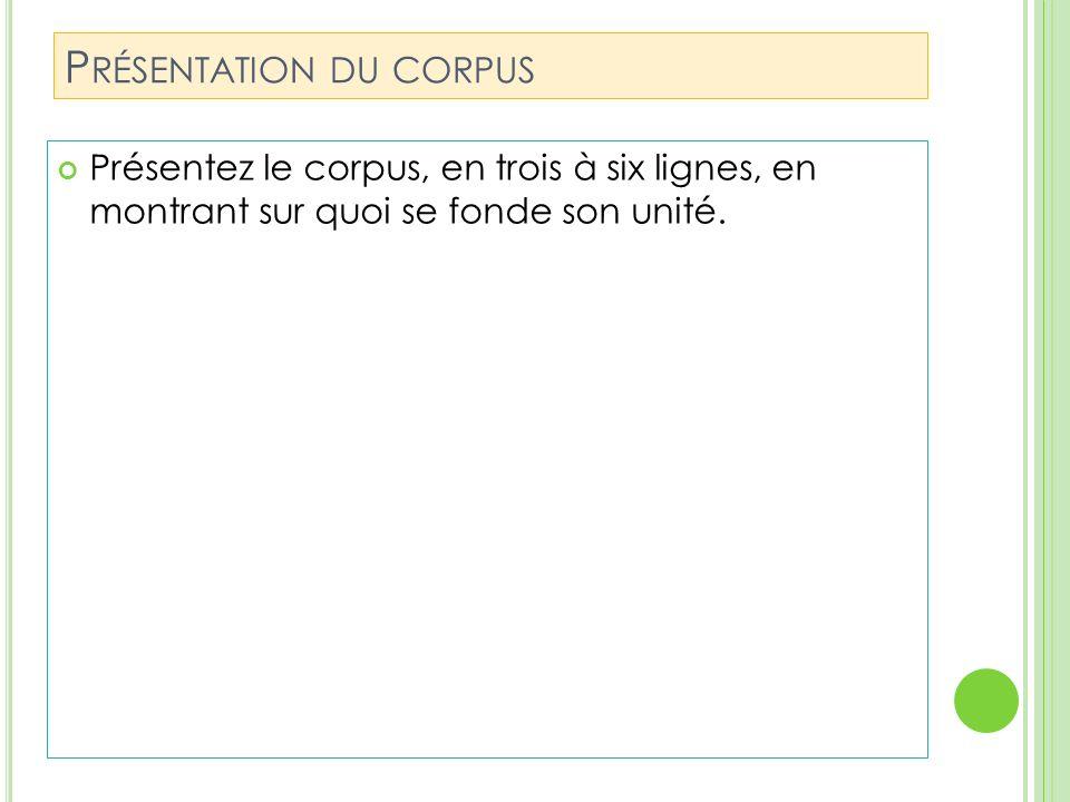 Présentation du corpus