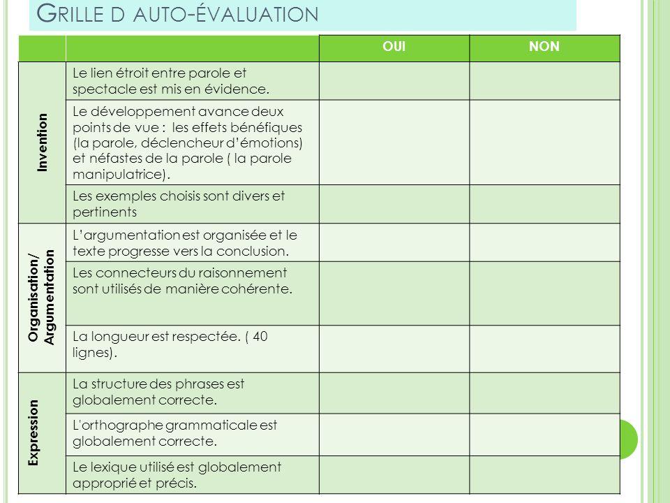 Grille d auto-évaluation