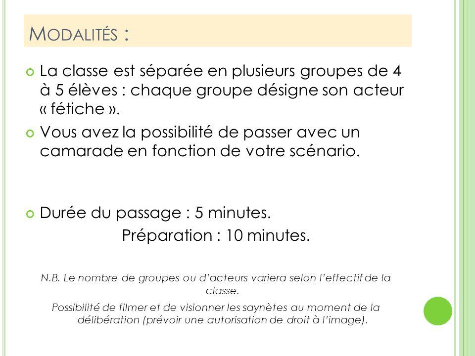 Modalités : La classe est séparée en plusieurs groupes de 4 à 5 élèves : chaque groupe désigne son acteur « fétiche ».