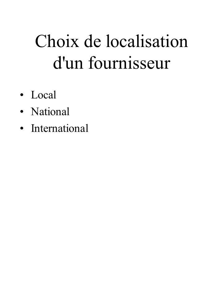 Choix de localisation d un fournisseur