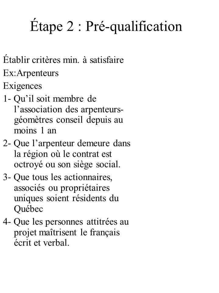 Étape 2 : Pré-qualification