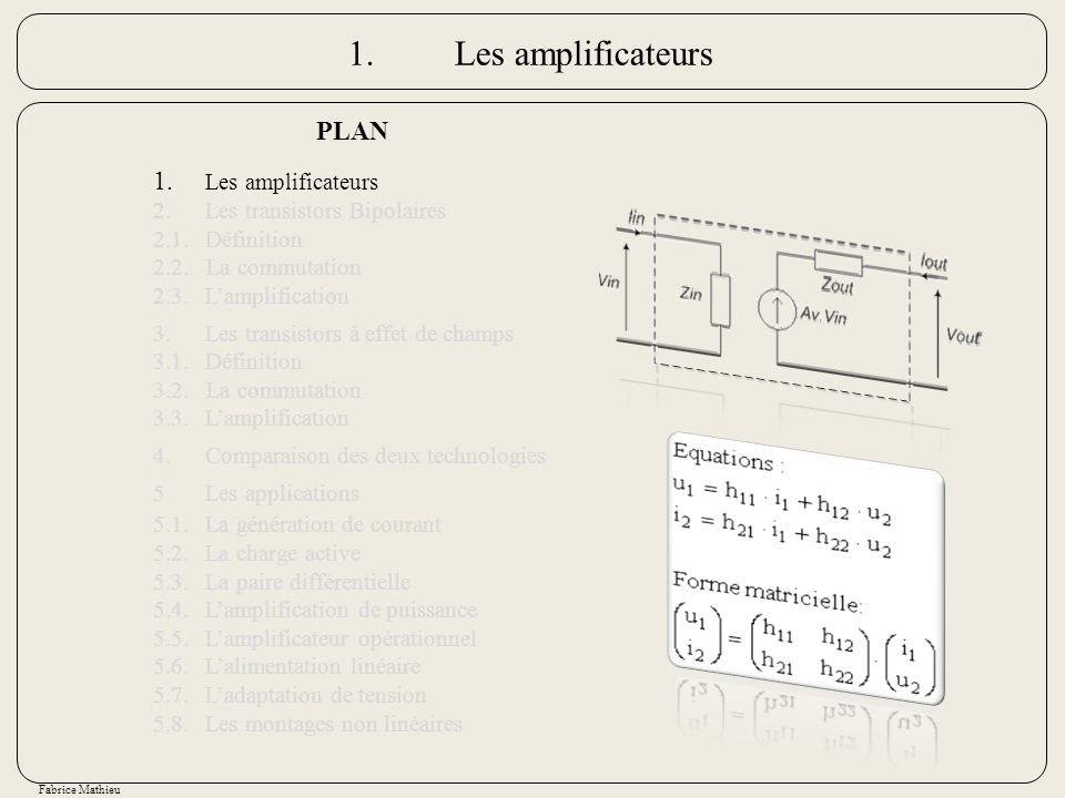 1. Les amplificateurs PLAN 1. Les amplificateurs