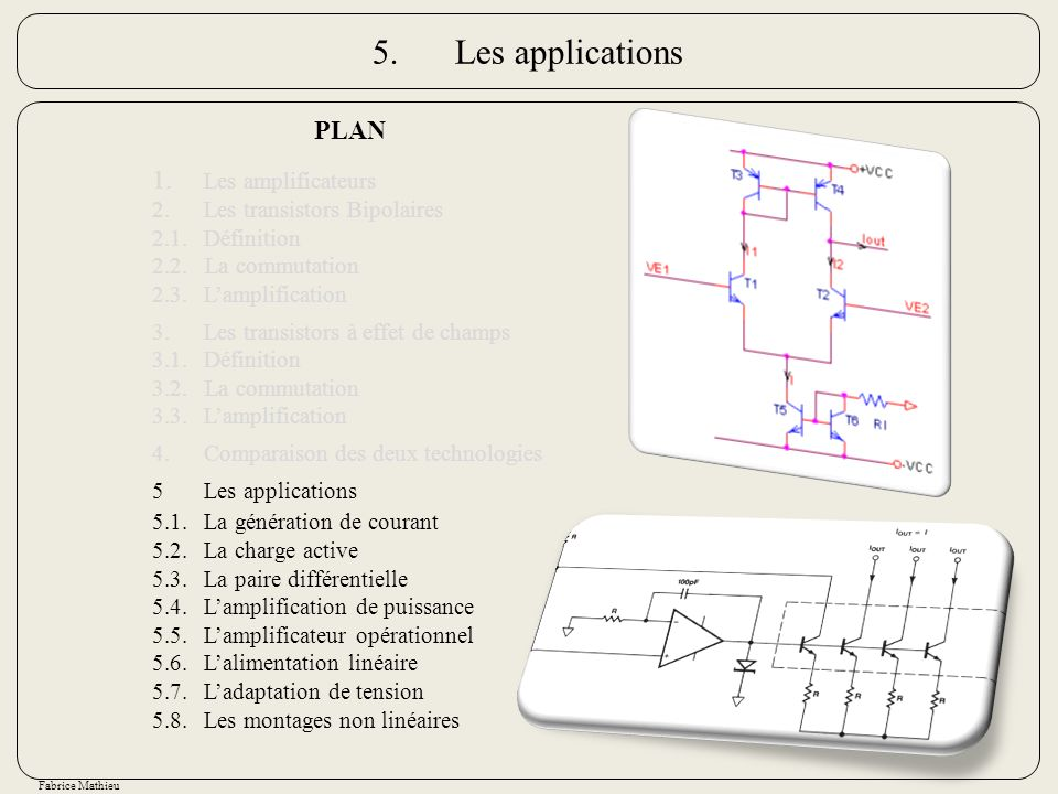 5. Les applications PLAN 1. Les amplificateurs