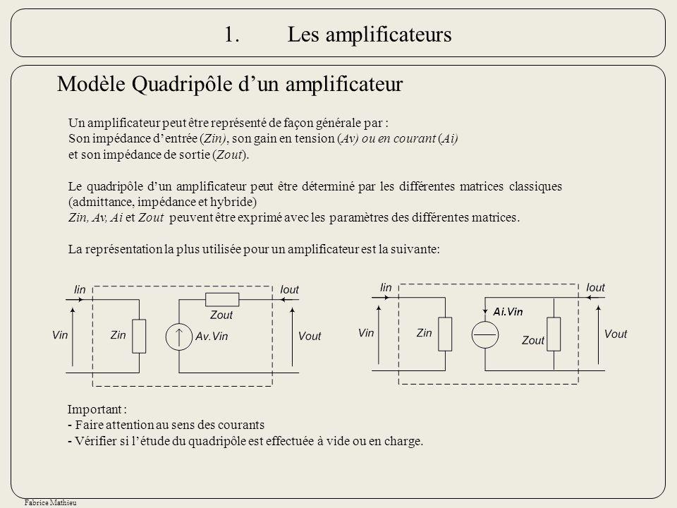 Modèle Quadripôle d'un amplificateur