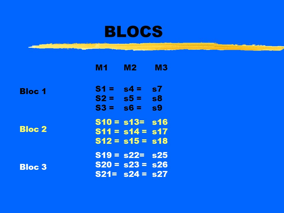 BLOCS M1 M2 M3 S1 = s4 = s7 Bloc 1 S2 = s5 = s8 S3 = s6 = s9 Bloc 2