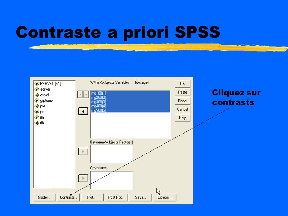Contraste a priori SPSS