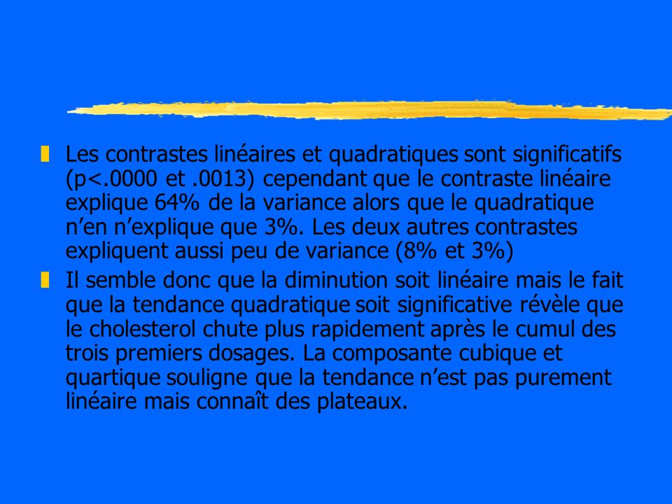 Les contrastes linéaires et quadratiques sont significatifs (p<