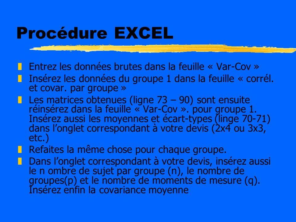 Procédure EXCEL Entrez les données brutes dans la feuille « Var-Cov »