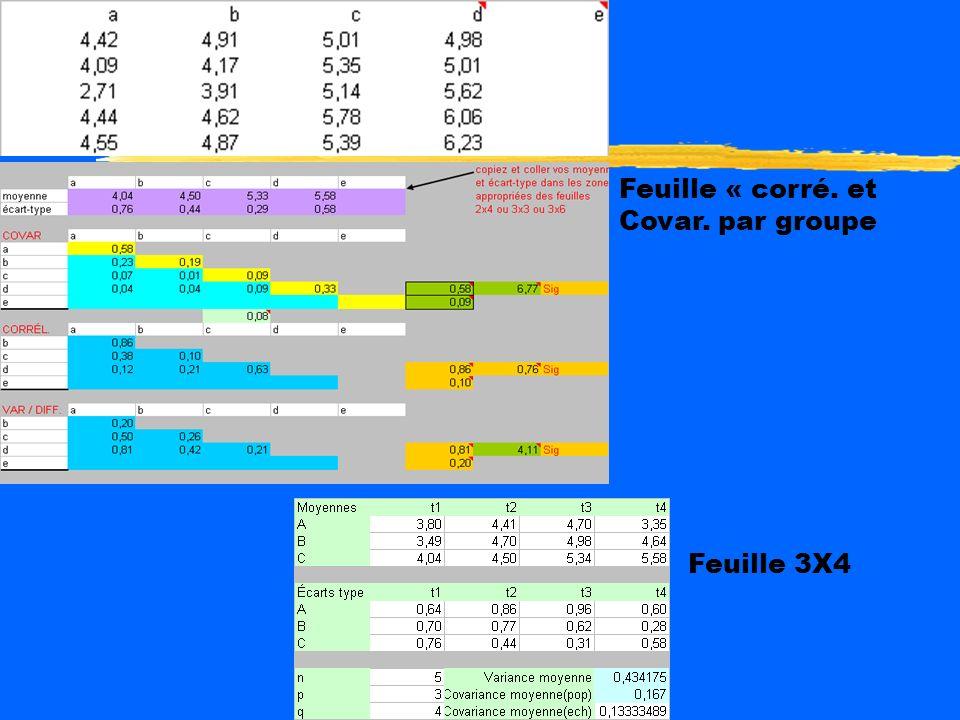 Feuille « corré. et Covar. par groupe Feuille 3X4
