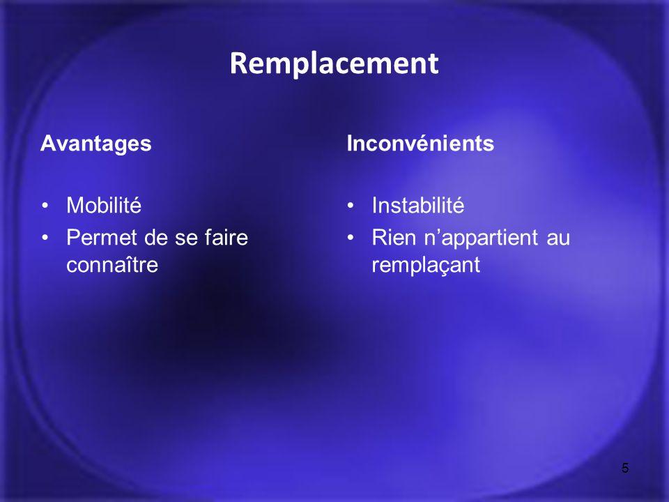 Remplacement Avantages Inconvénients Mobilité