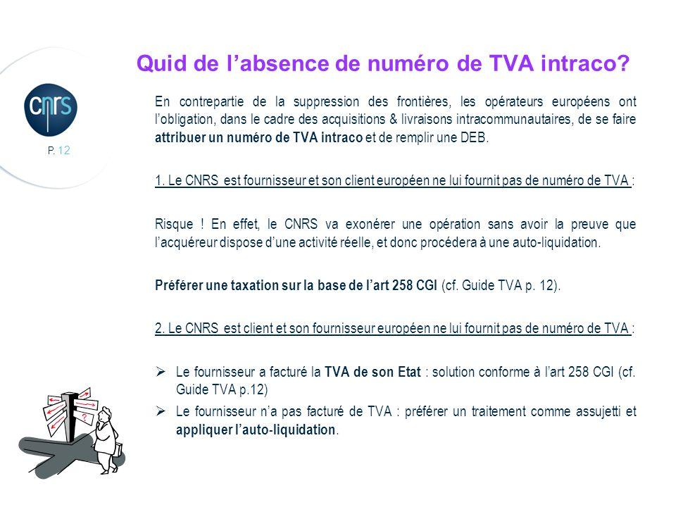 Quid de l'absence de numéro de TVA intraco
