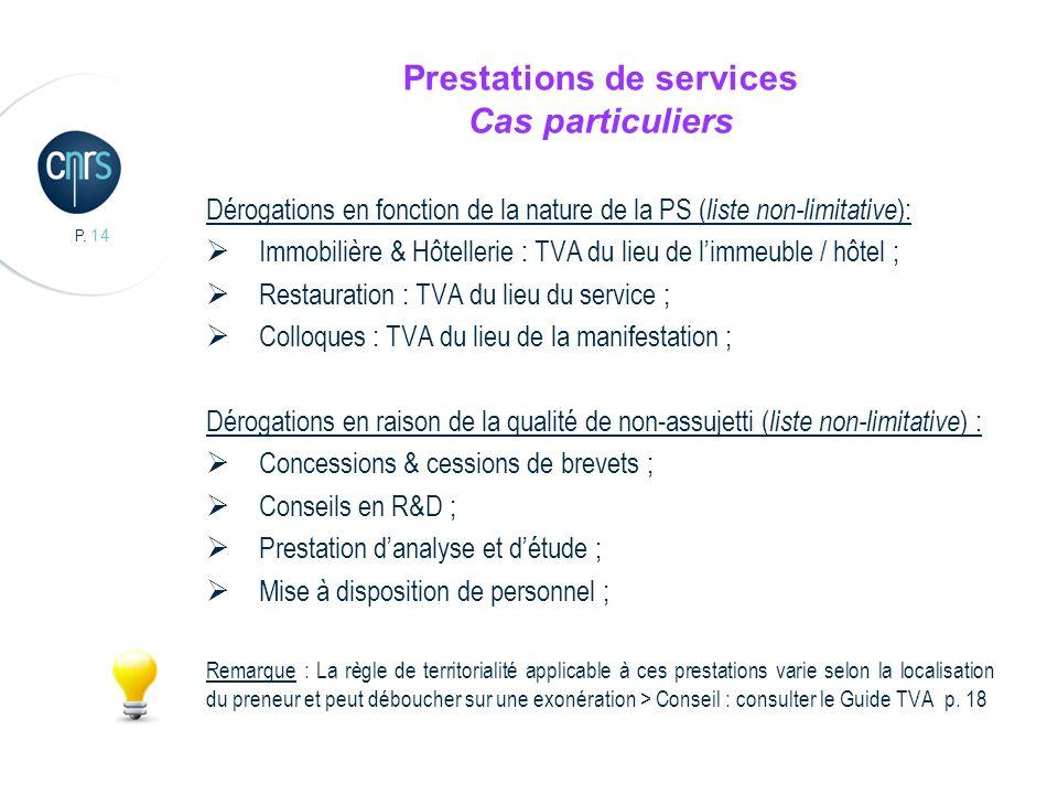 Prestations de services Cas particuliers