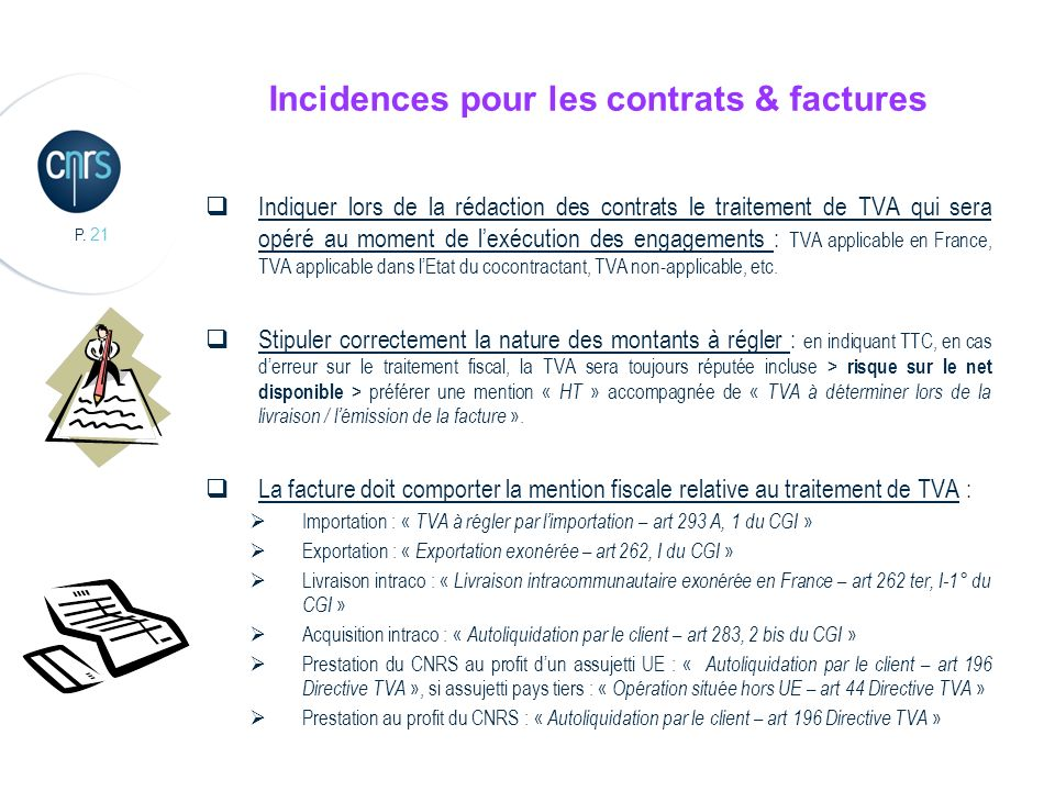 Incidences pour les contrats & factures