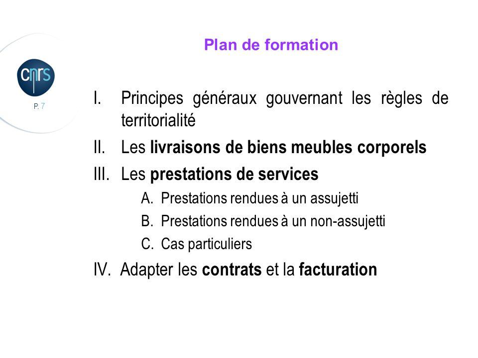 Principes généraux gouvernant les règles de territorialité