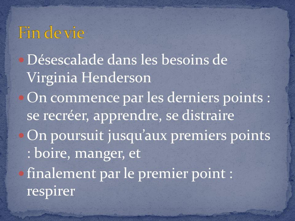 Fin de vie Désescalade dans les besoins de Virginia Henderson