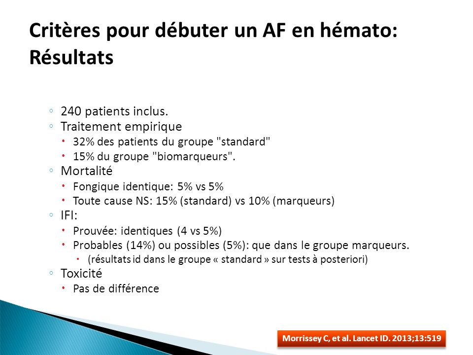 Critères pour débuter un AF en hémato: Résultats