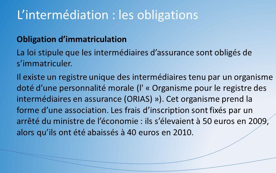 L'intermédiation : les obligations