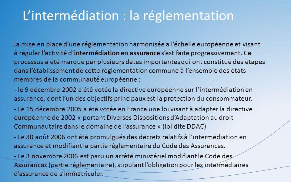 L'intermédiation : la réglementation