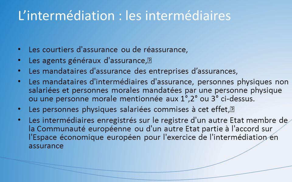 L'intermédiation : les intermédiaires