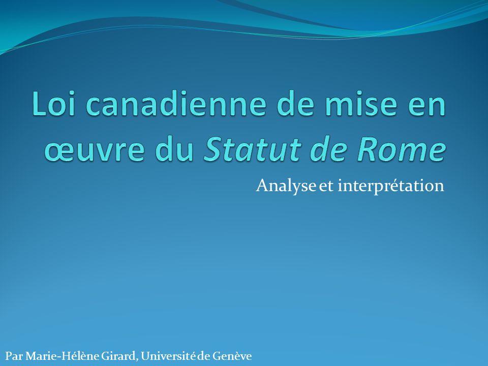Loi canadienne de mise en œuvre du Statut de Rome