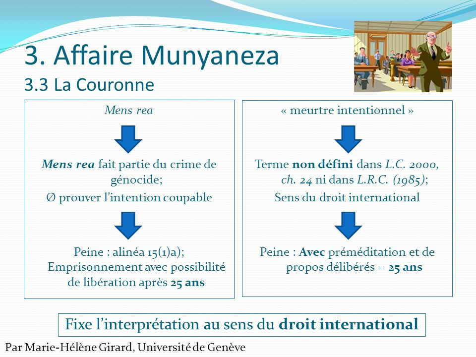 3. Affaire Munyaneza 3.3 La Couronne