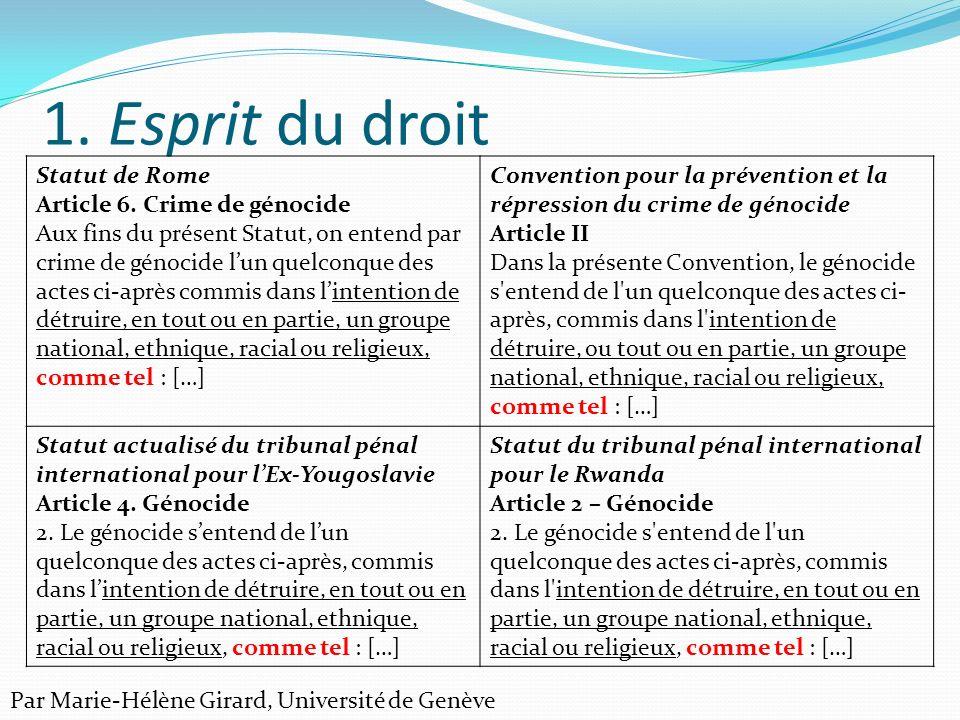 1. Esprit du droit Statut de Rome Article 6. Crime de génocide