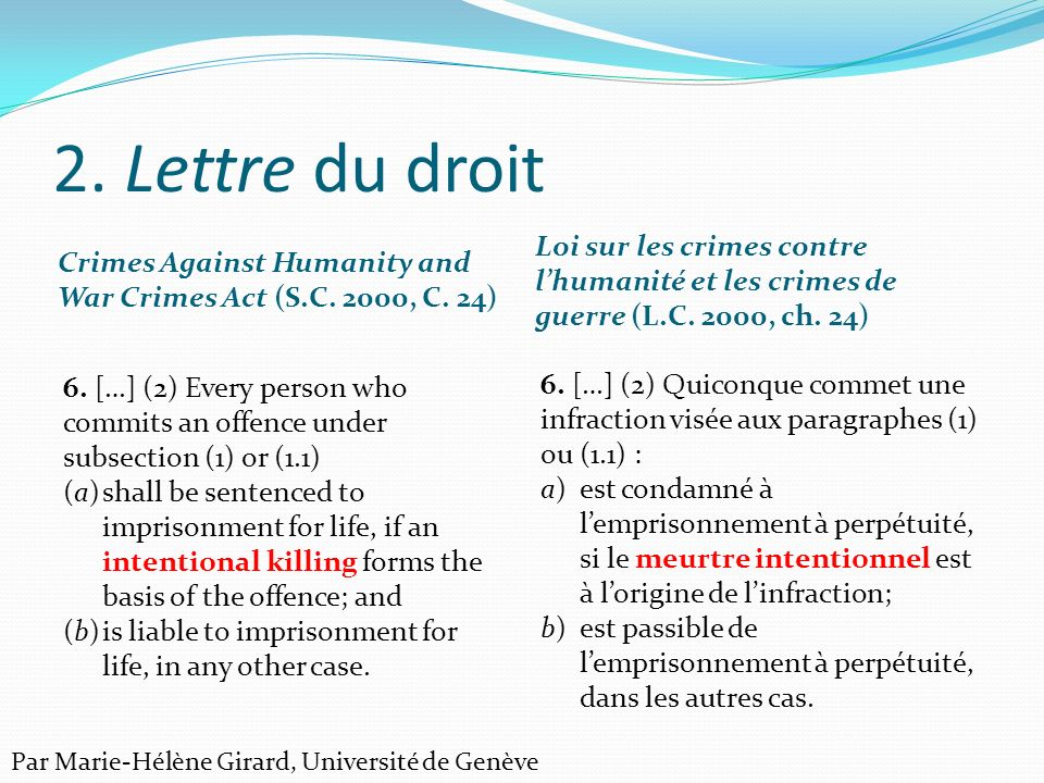 2. Lettre du droit Crimes Against Humanity and War Crimes Act (S.C. 2000, C. 24)