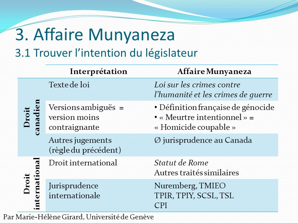 3. Affaire Munyaneza 3.1 Trouver l'intention du législateur