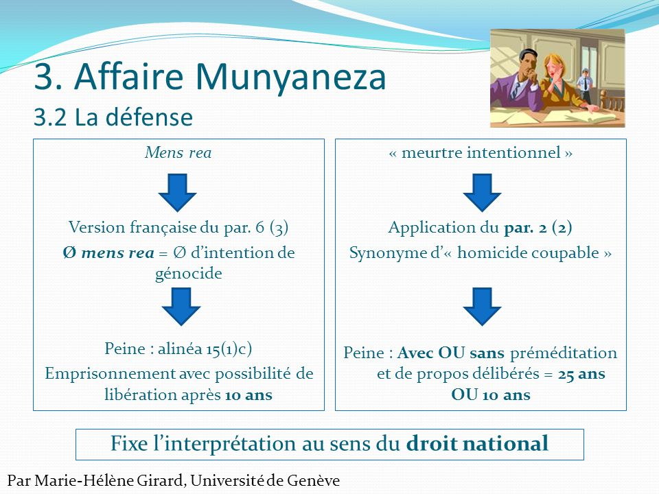 3. Affaire Munyaneza 3.2 La défense