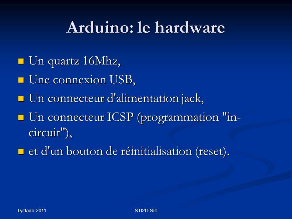 Arduino: le hardware Un quartz 16Mhz, Une connexion USB,