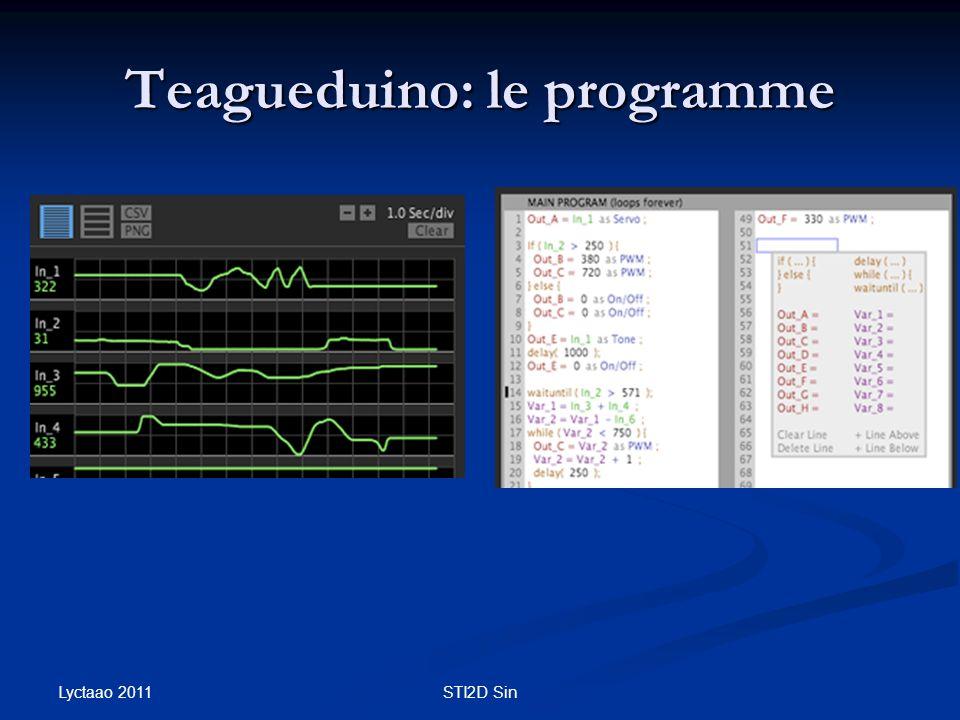 Teagueduino: le programme