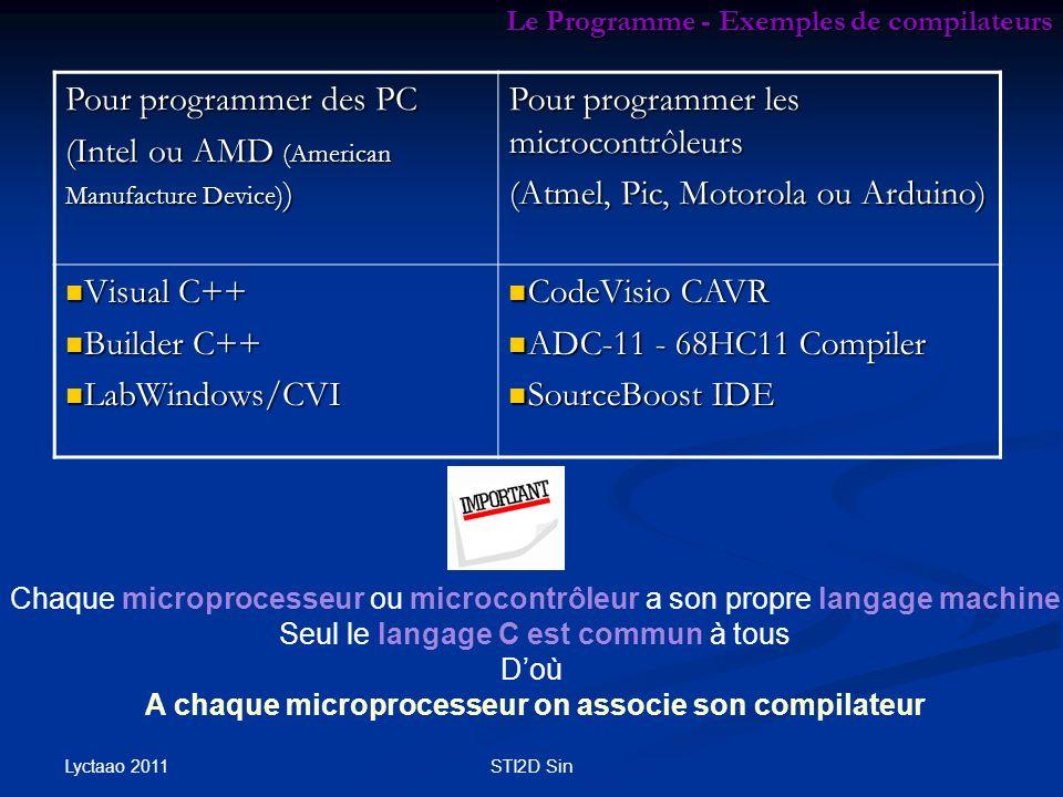 Le Programme - Exemples de compilateurs