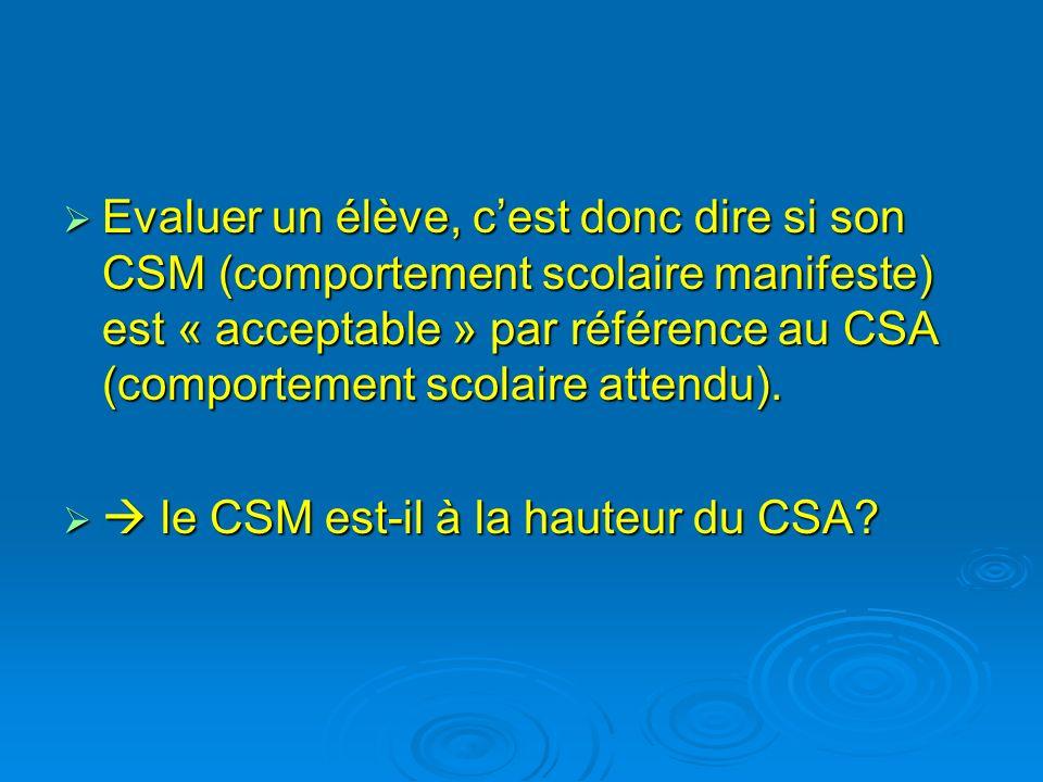Evaluer un élève, c'est donc dire si son CSM (comportement scolaire manifeste) est « acceptable » par référence au CSA (comportement scolaire attendu).