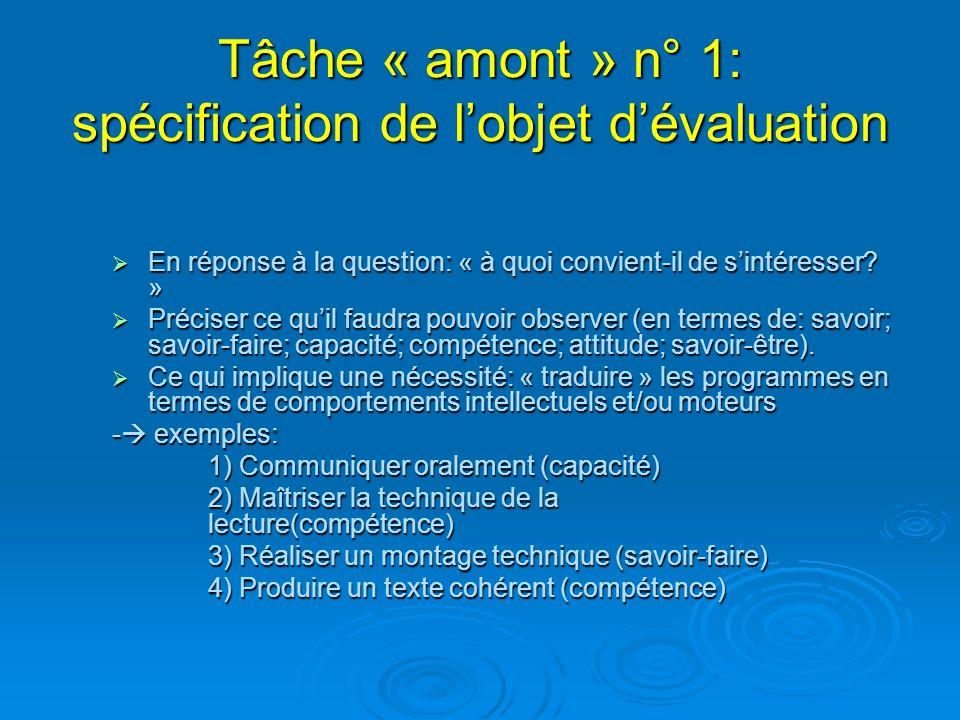 Tâche « amont » n° 1: spécification de l'objet d'évaluation