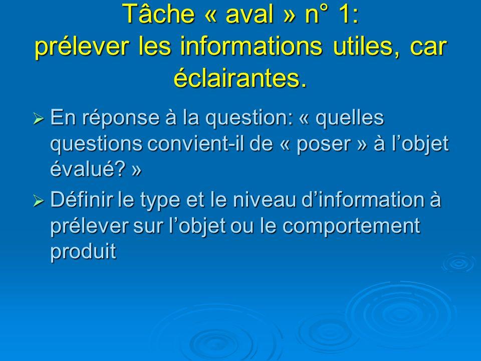 Tâche « aval » n° 1: prélever les informations utiles, car éclairantes.